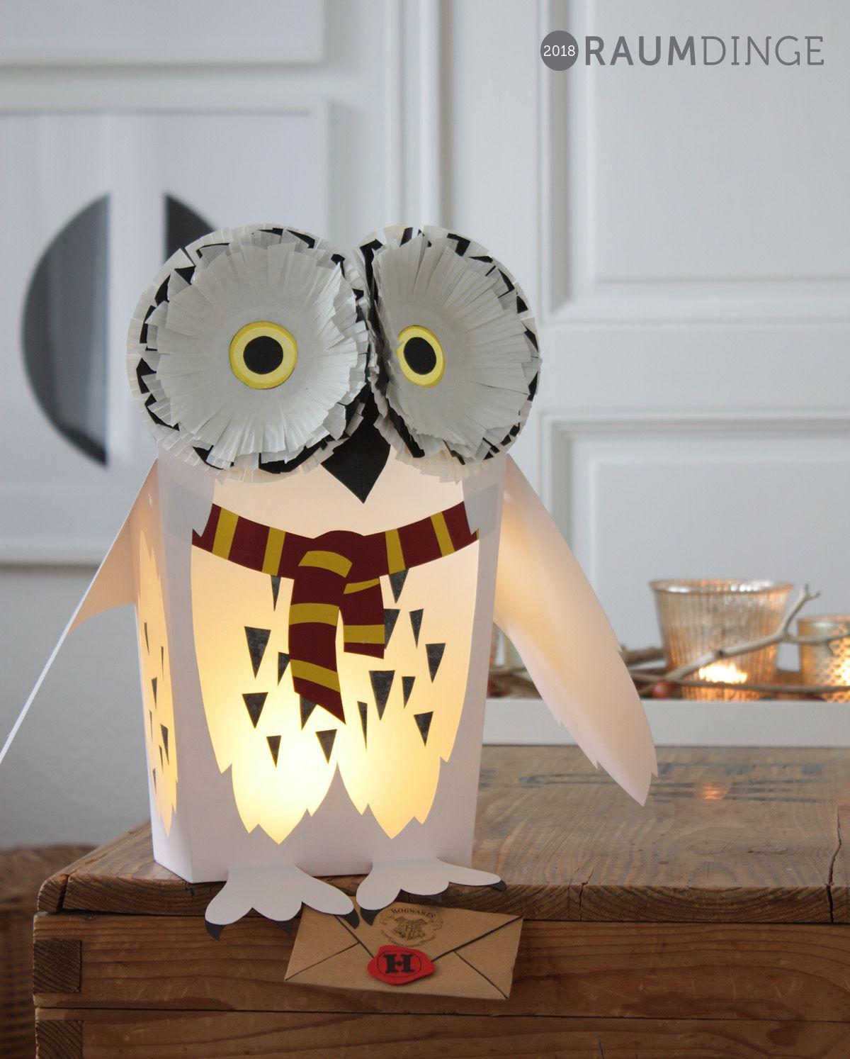 Hedwig Laterne Harry Potter DIY Download Laterne basteln #laternebasteln