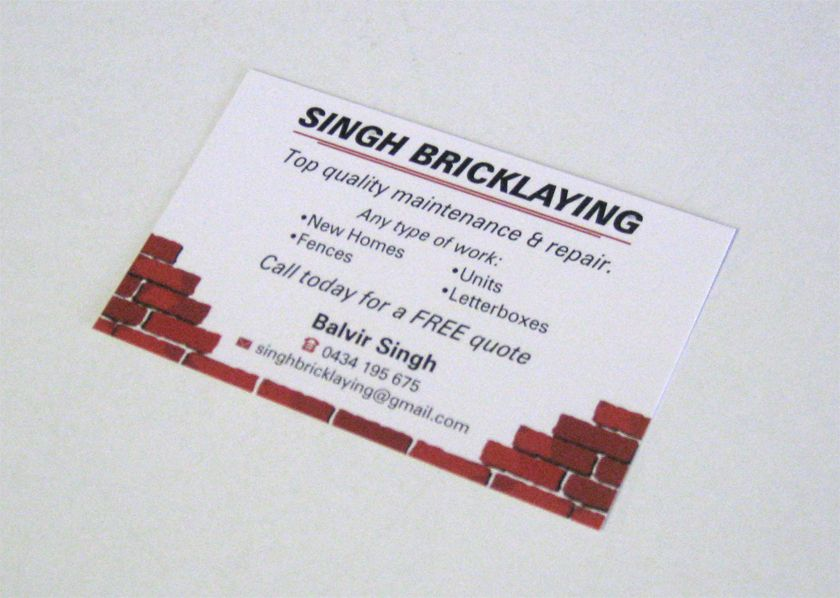 Business Cards for Singh Bricklaying. www.epping.minutemanpress.com ...