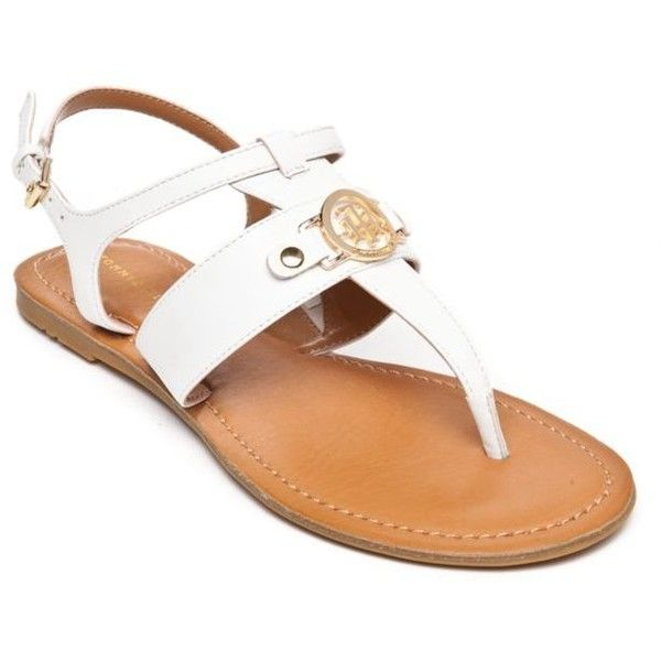 ad687a0773232 Tommy Hilfiger White Lelah Flat Thong Sandal - Women s ( 40) ❤ liked on  Polyvore
