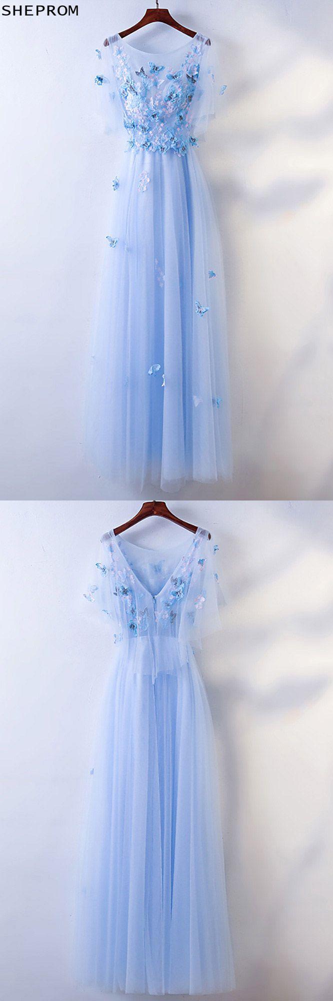 Cute blue flowy long cheap prom dress with butterflies