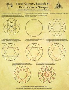 Instructions Nonagon 01 Sacred Geometry Patterns How To Draw Sacred Geometry Sacred Geometry Symbols