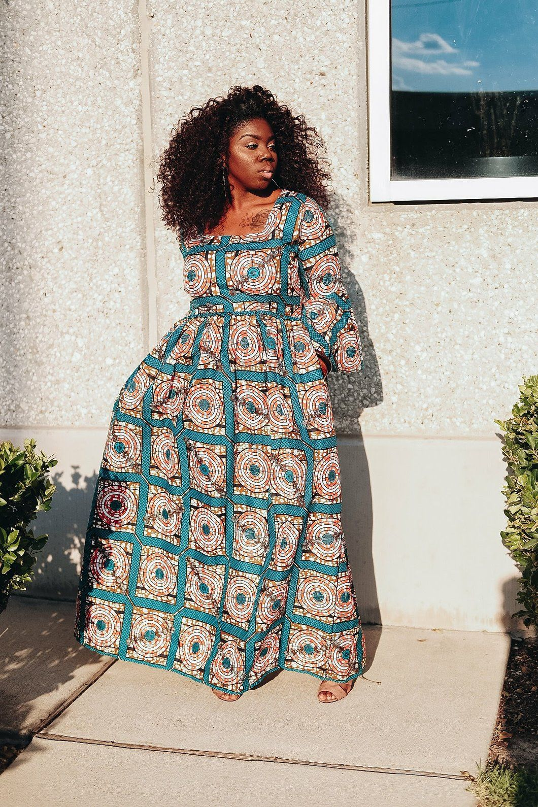Lebe green cube bell sleeve maxi dress african fashion pinterest