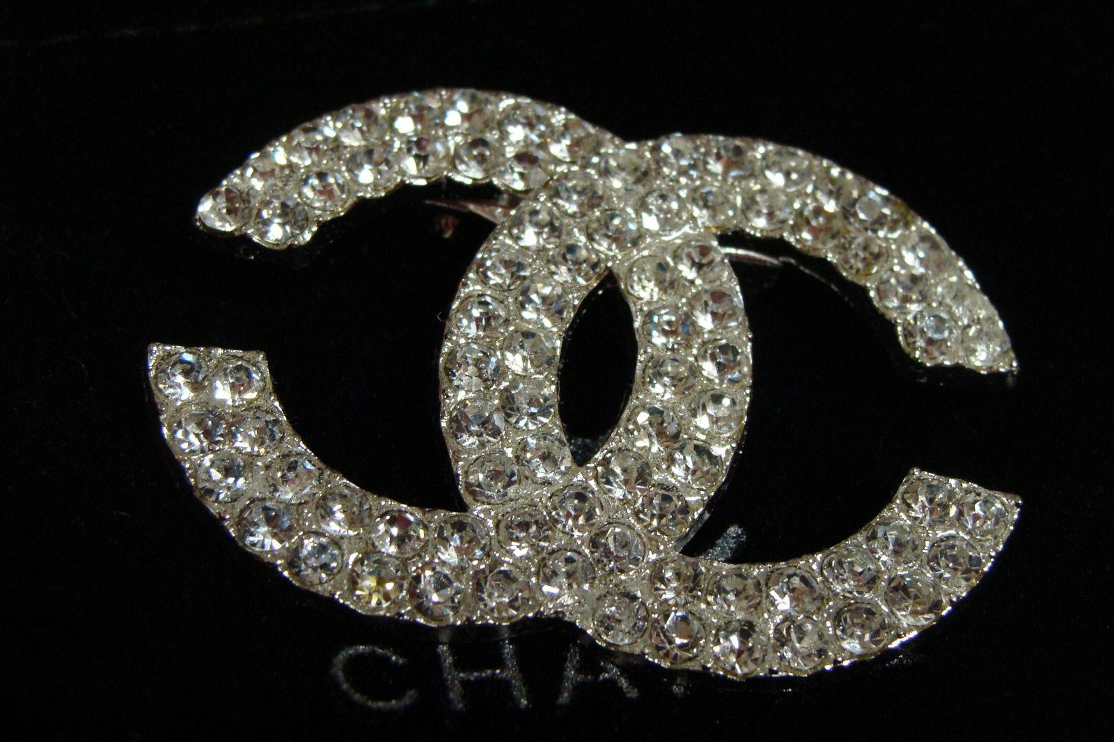 Silver CC logo Coco rhinestone designer inspired Chanel
