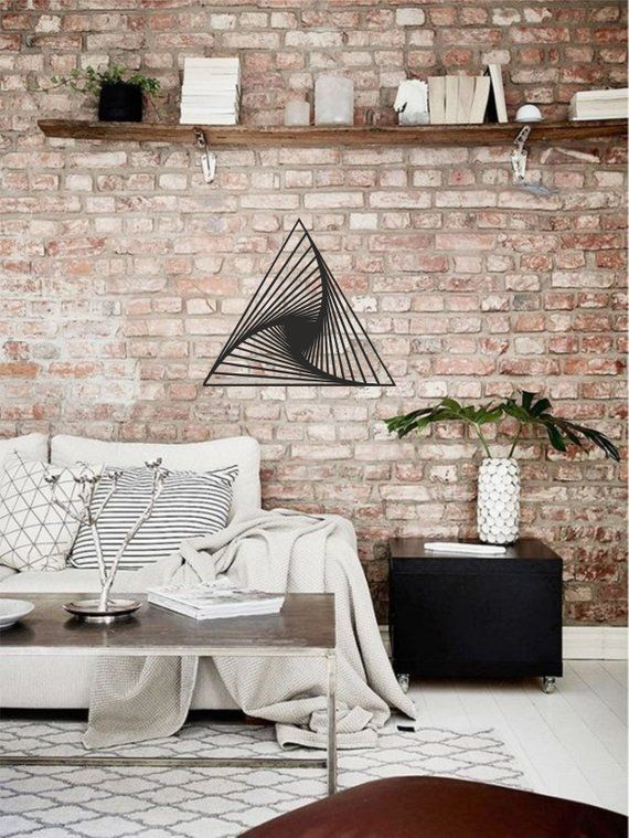Abstract Triangle Wall Decoration Wooden Abstract Wall Decor Natural Wood A Minimalist Living Room Decor Brick Wall Living Room Minimalist Living Room Design