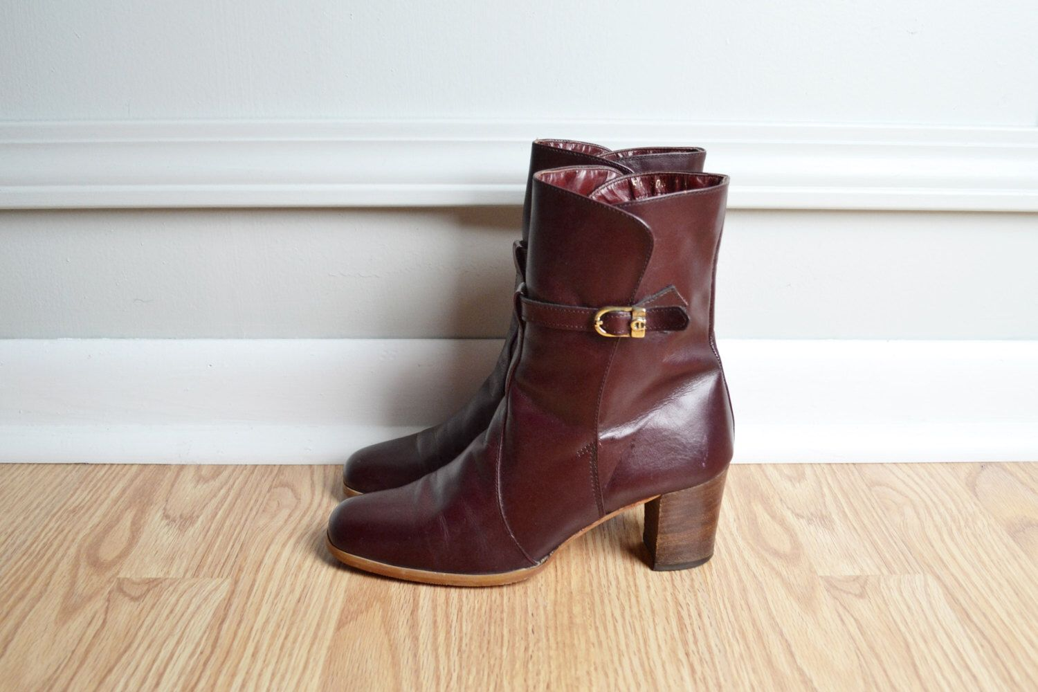 2e66b511f Shoes Ankle Boots / Heeled / Oxblood Maroon Leather / Etienne Aigner / Chic  / 70s