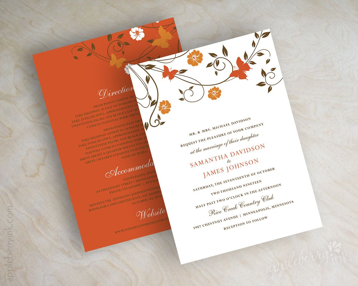 Orange and brown vine, autumn wedding invitations, wedding invites ...