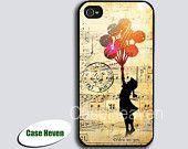 Banksy Balloon Girl Music Sheet iPhone 4 Case, iPhone 4s Case, iPhone Case, iPhone hard Case