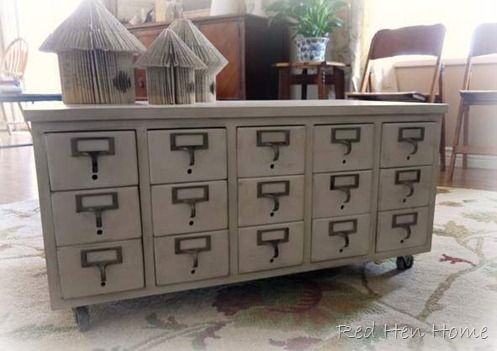 Red Hen Home Card Catalog Coffee Table Repurposed Card Catalog