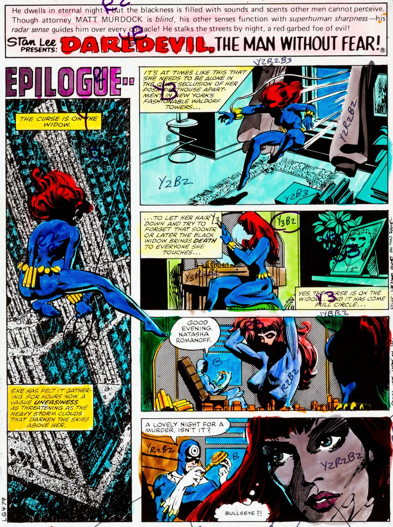 Original hand-painted color guides by Frank Miller (pencils), Klaus Janson (inks) and Glynis Wein (colors) from Daredevil #160 (pages 1-3 and 15-16), published by Marvel Comics, September 1979.