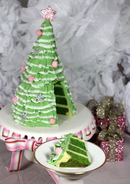 Christmas tree ruffle cake