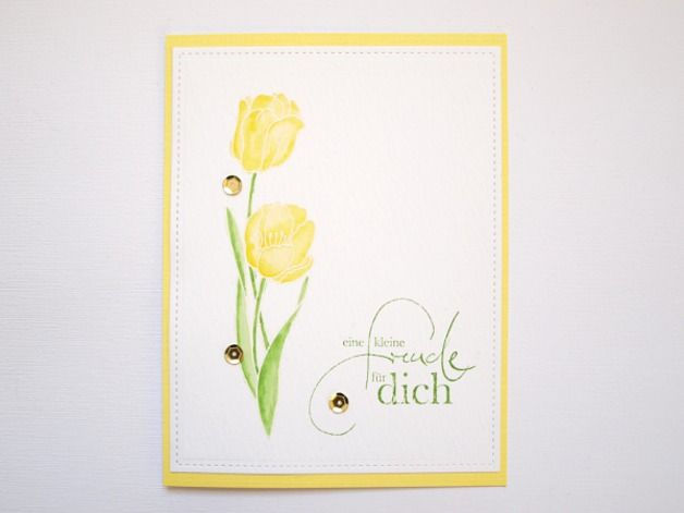 Karte mit Tulpen, Aquarell Watercolor card with tulips