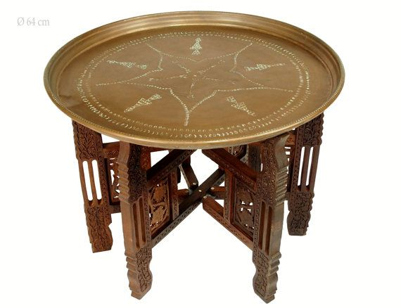 54 Cm Antique Oriental Egyptian Moroccan Copper Tray Tea Table Plate Side Table Table With