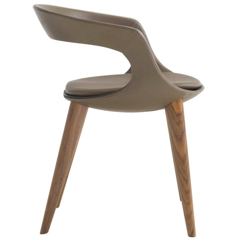 Modern Italian Leather Dining Chairs With Wooden Legs Hand Made