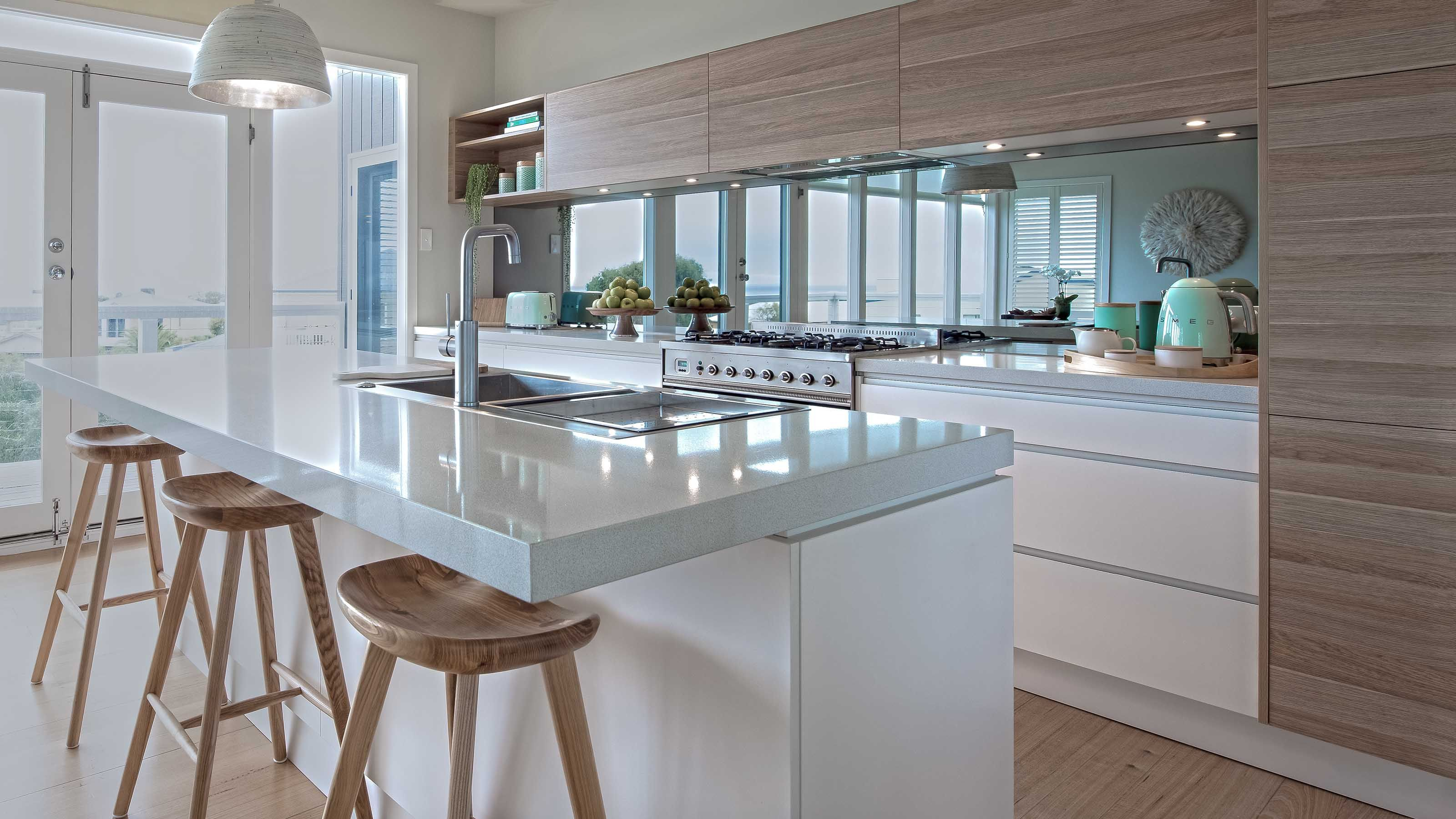White Kitchen Grey Splashback mirror glass splashbacks | 5 tints | geelong splashbacks | home