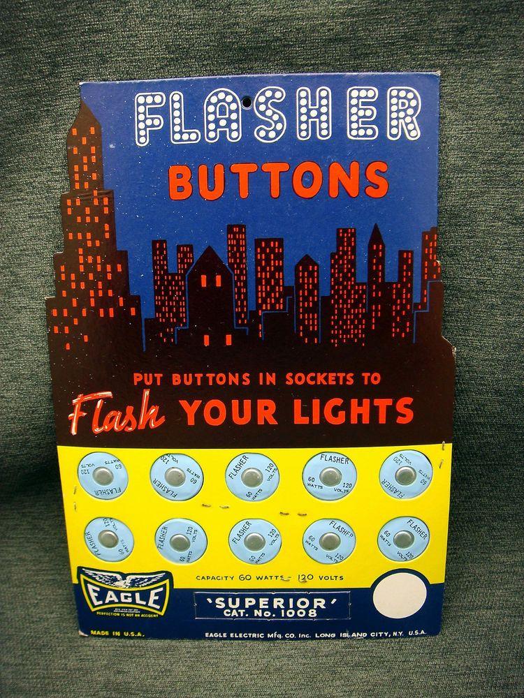 Vintage Eagle Light Bulb Flasher Button Dealer Counter Display ...