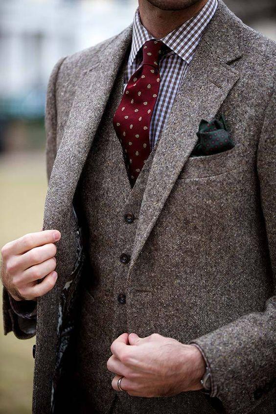 Tweed Three Piece Suit Brown Tweed Suit He Spoke Style Wedding Suits Men Tweed Men Brown Tweed Suit