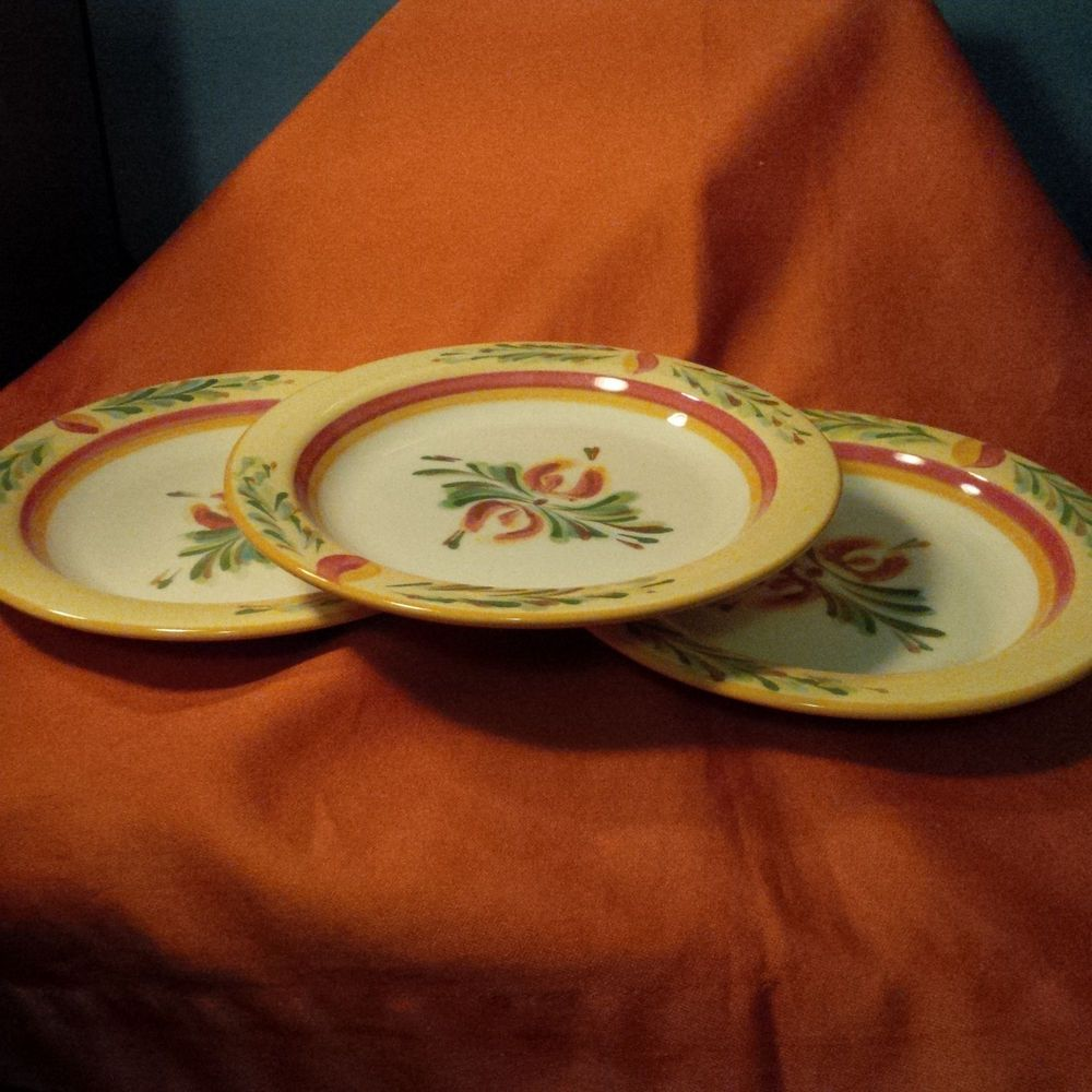 Gail Pittman Retired Southern Living At Home SIENA Bread Plates Set Of 3  (BBB)