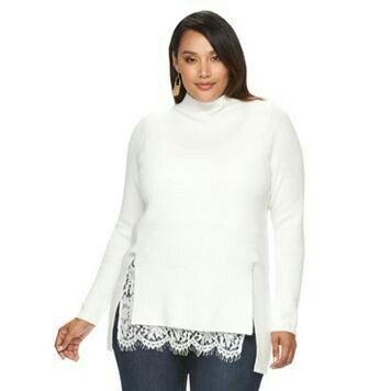 Plus Size Jennifer Lopez Lace Mockneck Sweater  SALE $61.60