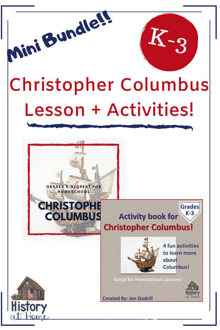 Photo of Christopher Columbus Lesson PLUS Activity Book Pair Pack for K-3 and Homeschool
