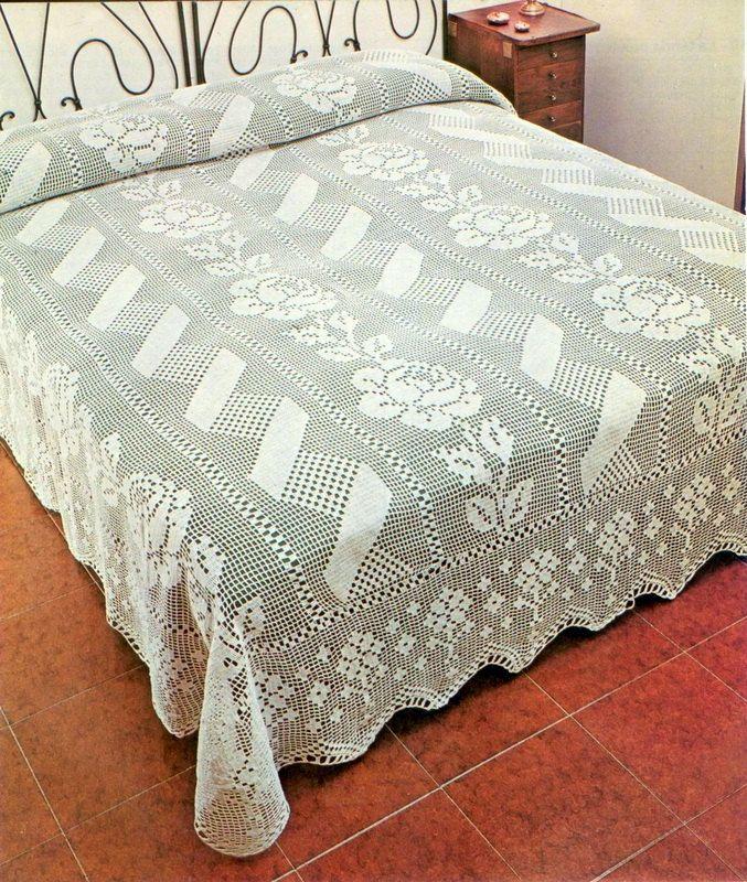 Patrón de crochet Filet PDF-colchas-hogar por Marypatterns en Etsy ...