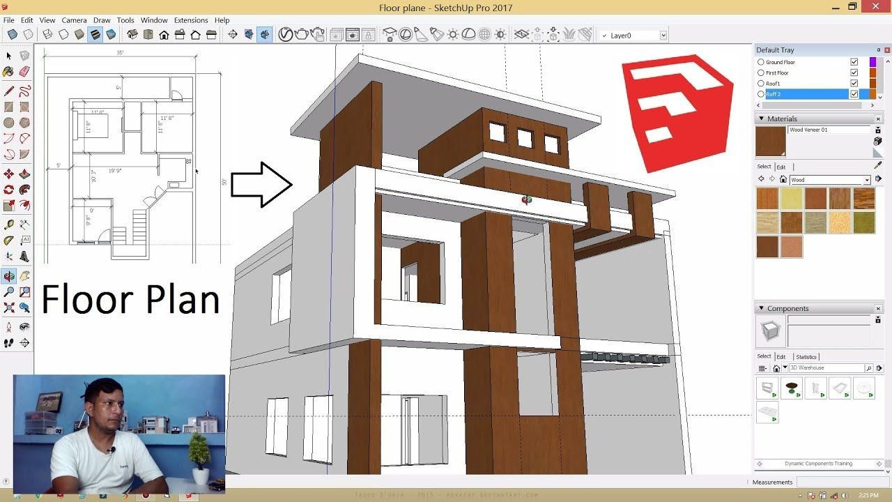 Architectural Floor Plan To 3d Model Making In Sketchup Tutorial In Hindi In 2020 Architectural Floor Plans Floor Plans Duplex House Design
