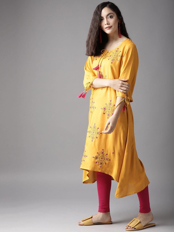 07e61351593 Buy Moda Rapido Women Mustard Yellow Embroidered A Line Kurta - Kurtas for  Women 5616282