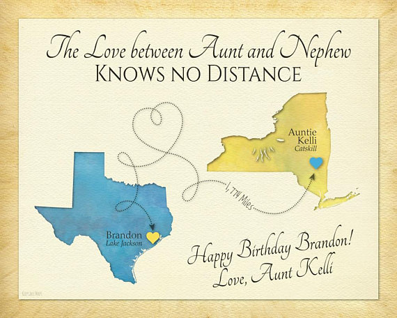Personalized Gift For Nephew Long Distance Aunts And Nephews Birthday Mo
