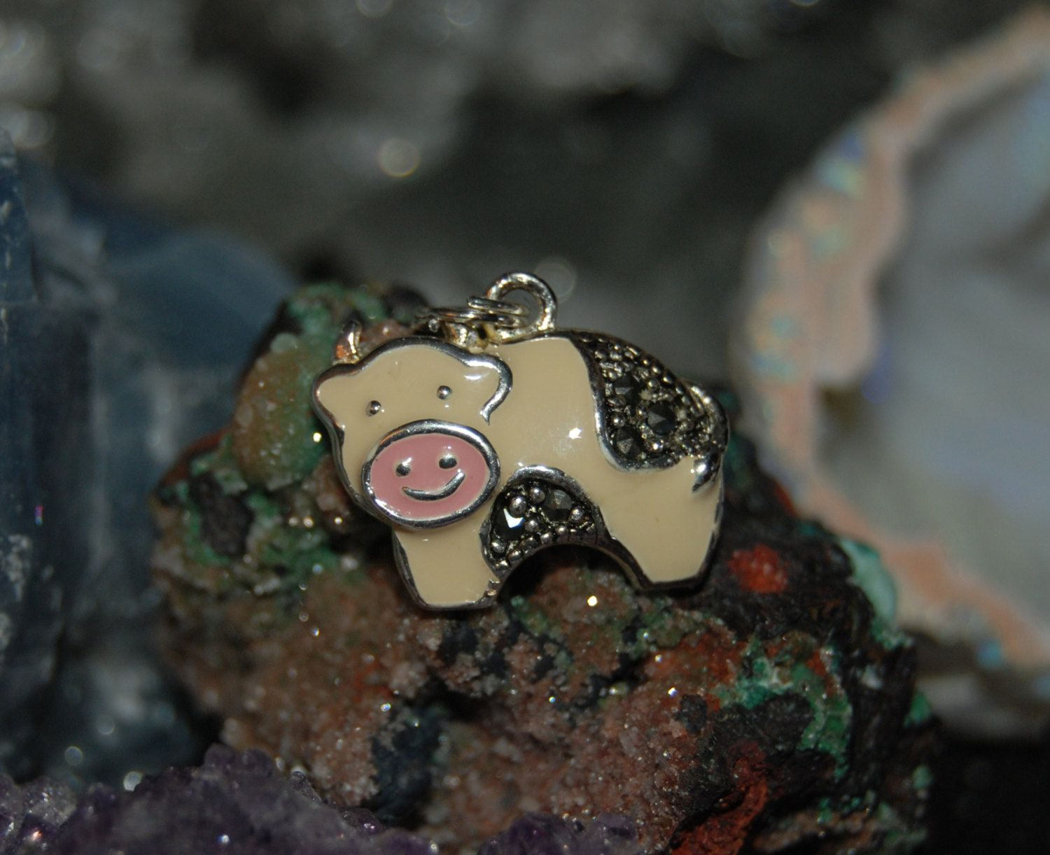 Cow in Black White and Pink Enamel and Marcasite Charm