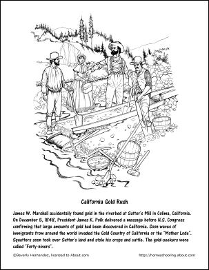 California Printables Gold Rush Coloring Page