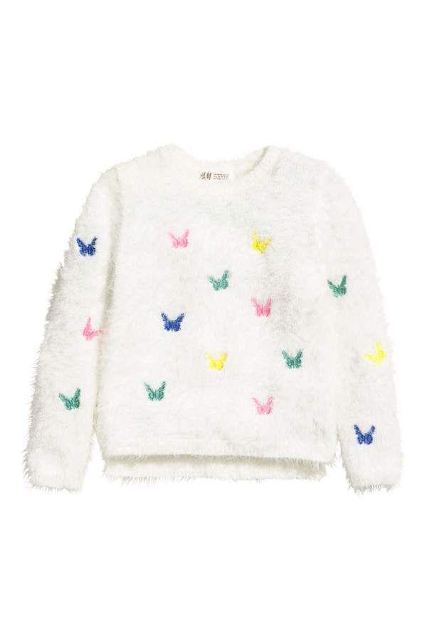H M H M Fluffy Sweater White Butterflies Kids Fluffy Sweater Sweaters Long Sleeve Sweater