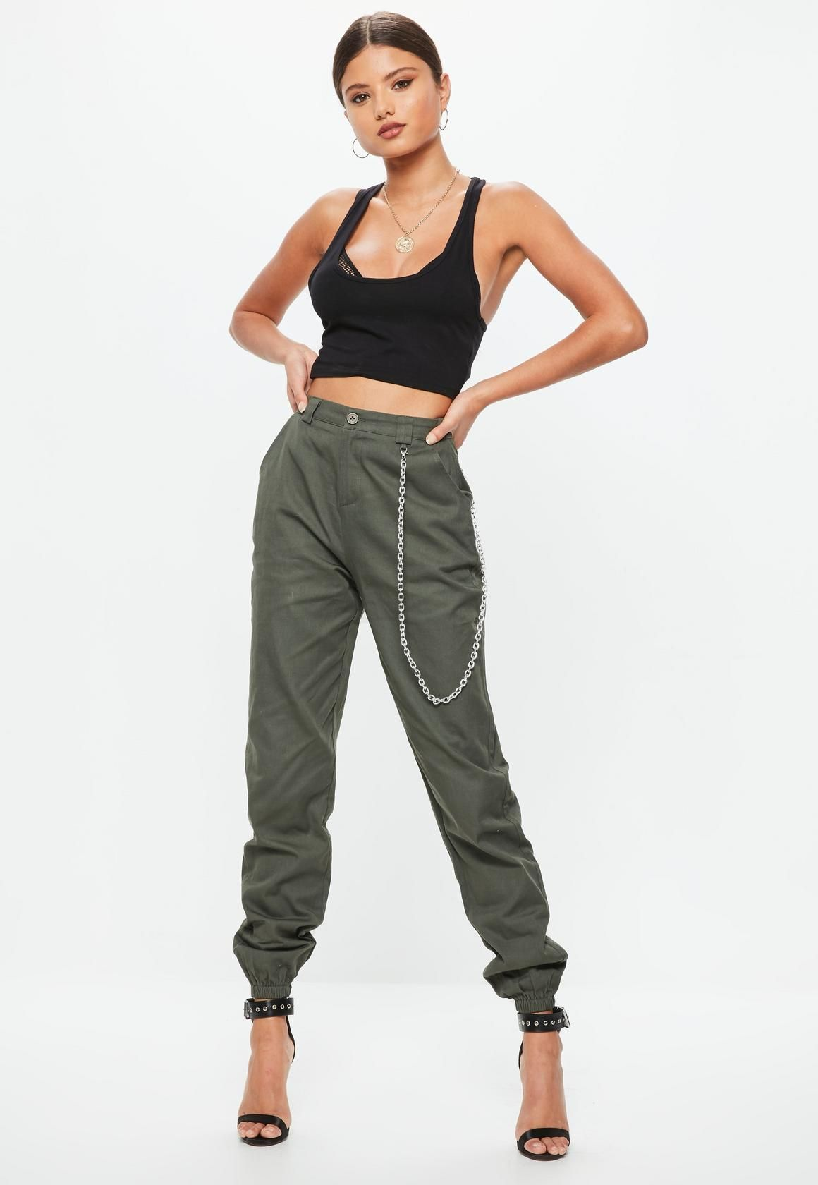 81f677aab0542 cargo pants in khaki hue with chain detailing. | how to style/what ...