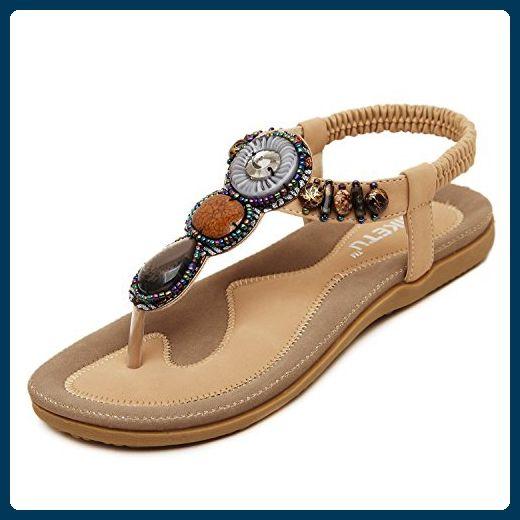 DQQ Damen Bohemian Perlen Ankle Strap Sandale, Beige - Aprikose - Größe: 37