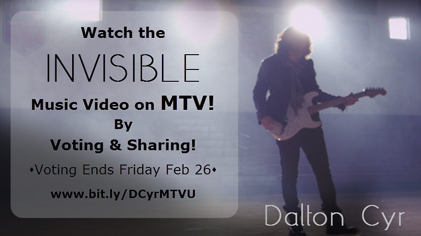 """MTV! My video for my single """"Invisible"""" directed by Justin Suttles is currently competing in The Freshman contest on MTVU.com. The winner gets their video placed into regular rotation. VOTE by clicking the link in my bio! #mtv #mtvu #Invisiblemusicvideo #daltoncyr #musicvideo #greatestfansever #grateful by daltoncyr"""
