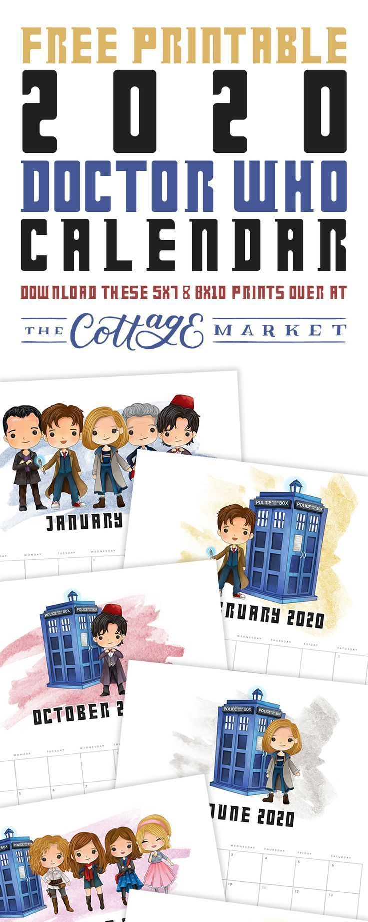 Free Printable 2020 Doctor Who Calendar in 2020 Doctor