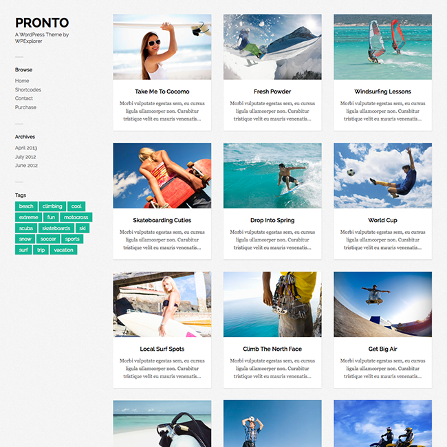 Pronto Free Masonry Gallery WordPress Theme | Wordpress Themes ...