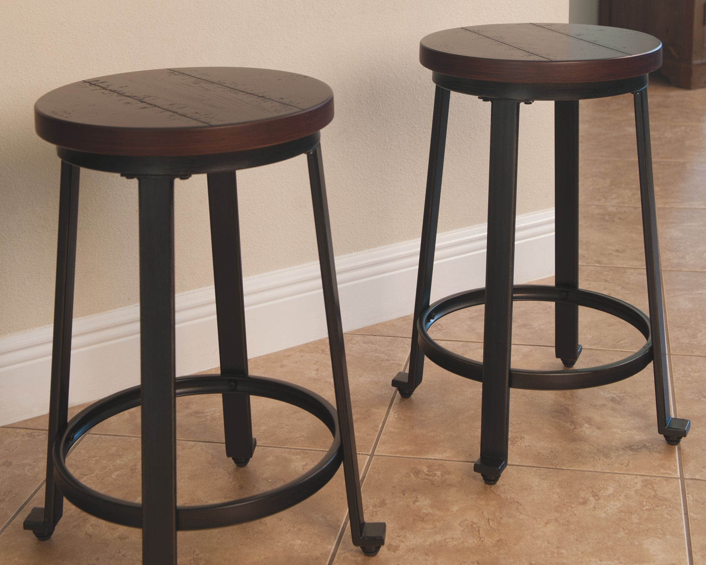 Challiman Counter Height Bar Stool (Set of 2), Rustic