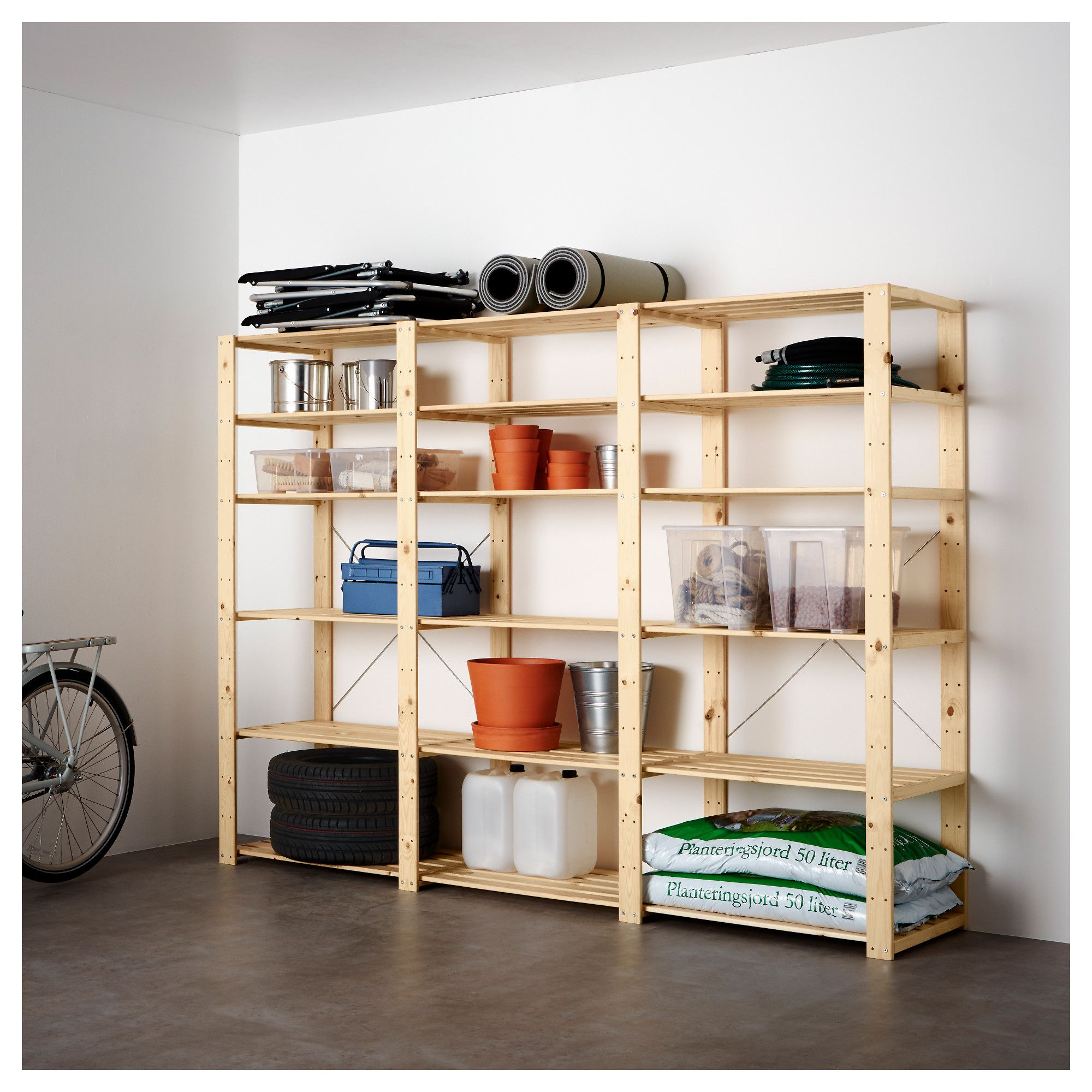 Hejne 3 Section Shelving Unit Ikea