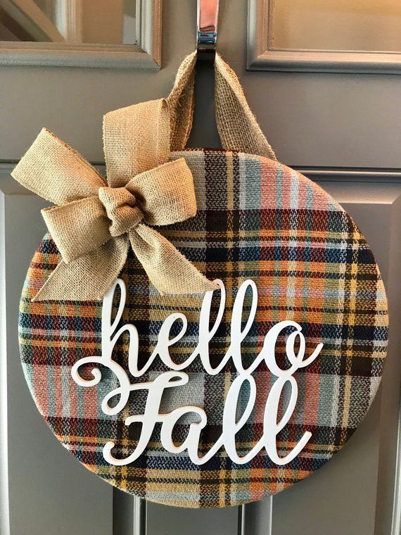 Fall Wreath, Fall Door Hanger, Hello Fall, Fall Door Decor, Autumn Door Wreath, Plaid Decor, Front Door Decor, Door Decoration, Fall Decor #hellofall