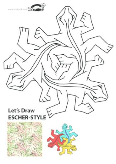 Actividades Para Trabajar Los Mosaicos De Escher Aprendiendo Matematicas Lecciones De Arte Arte De Escher Proyectos De Arte Para Ninos