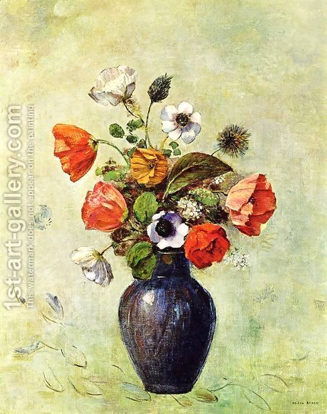 Anemones And Poppies In A Vase Painting By Odilon Redon Reproduction 1st Art Gallery Oil Painting Gallery Odilon Redon Flower Drawing