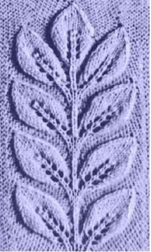 Узор ветка листьев спицами | Тонкости вязания | Knitting ...