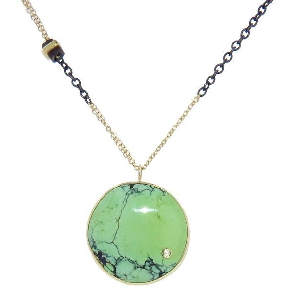Jamie Joseph Round Green Turquoise Pendant ($1,080) ❤ liked on Polyvore