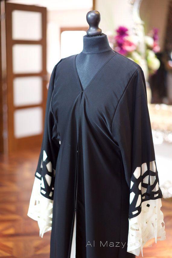 Al Mazyoona Black Embroidered Party Wedding Bisht Abaya Dubai Etsy Abayas Fashion Fashion Abaya