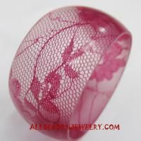 Red Lace Resin Bangle