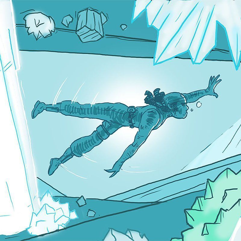 Teaser for today's comic. Link in bio. . #digitalartist #digitalcomic #digitaldraw #digitalart #indieartist #crystal #cave #swimming #speleology #takeadeepbreath #indiecomic #webcomic #comicart