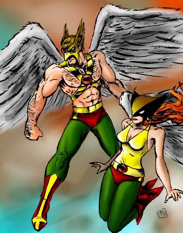 Hawkman and Hawkgirl by RamonVillalobos