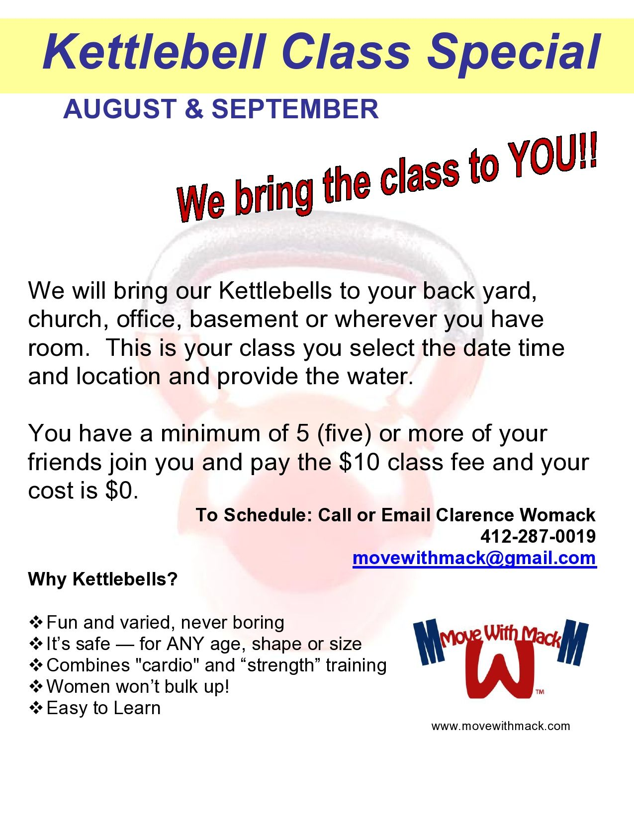 Move With Mack Aug & Sept Kettlebell Class Special Offer
