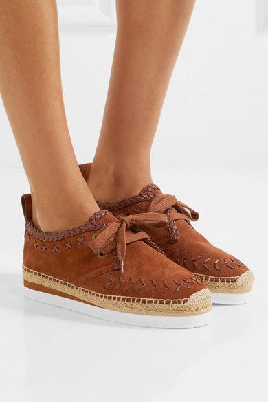 7a3c550d See by Chloé - Leather-trimmed Suede Espadrille Platform Sneakers ...