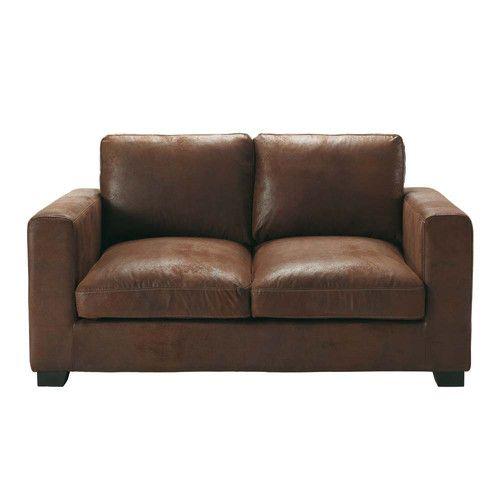 canap 2 places en su dine marron wish list canap marron canap 2 places et canap lit 2. Black Bedroom Furniture Sets. Home Design Ideas