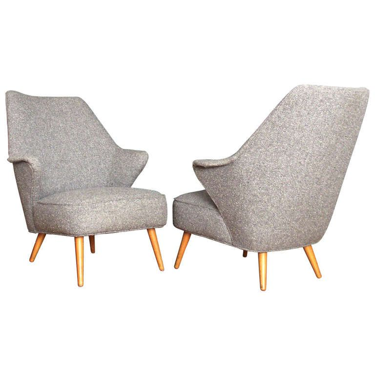 Marvelous Pair Of Swedish Style Mid Century Lounge Chairs 1950s